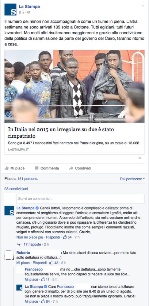 La Stampa: il caso virtuoso della moderazione su Facebook (1/2)