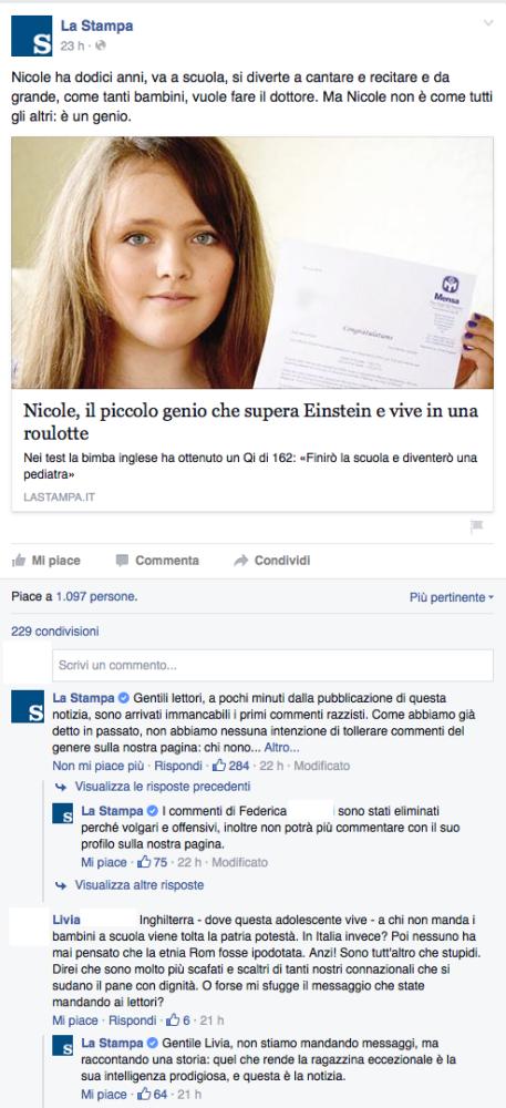 La Stampa: il caso virtuoso della moderazione su Facebook (2/2)